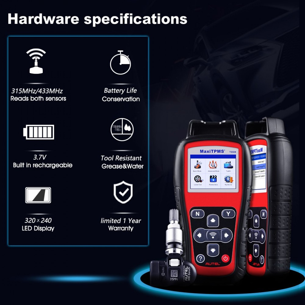 Check Tpms System >> Autel Maxitpms Ts508 Tpms Diagnostic Tool Check Tpms System Health
